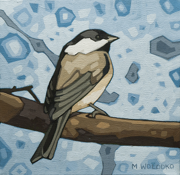 "Black-capped-Chickadee (2) 8""x8"" (sold)"
