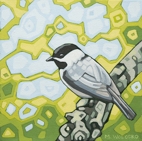 "Black-capped-Chickadee (3) 8""x8"" (sold)"