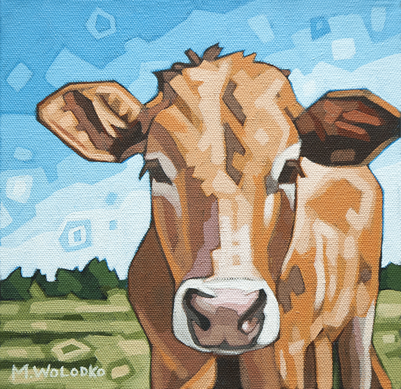 "Cow in the Meadow 8""x8"""
