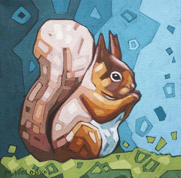 "Red Squirrel 8""x8"""