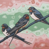 "Barn Swallows 8""x8"" (sold)"