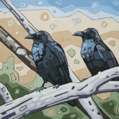 "Resting Crows 18""x14"""