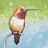 "Rufous Hummingbird 8""x8"" (sold)"