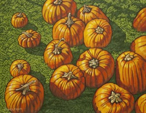 """Added more details and highlights - Pumpkin Patch    14"""" x 18"""""""