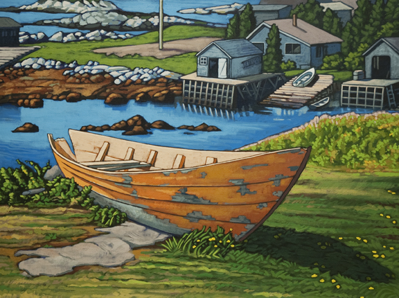 Retired in Nova Scotia acrylic painting