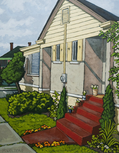 The Red Steps Acrylic Painting