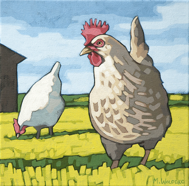 "Hens  8"" x 8"""